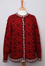 LL Bean femme Nordic Style Lourd Chaud en Coton Rouge Bouton Cardigan XL