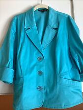 TRIBELLA Blue Turquoise Cotton 3/4 Sleeve 3-Button Short Blazer Jacket 16