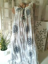 Damenkleid Italy  Erahsia Ornament Weiß Netz Strandkleid Free 46 48 50 Viscose