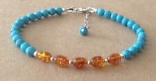 Turquoise+Cognac BALTIC AMBER, Sterling Silver, Beaded Friendship Bracelet