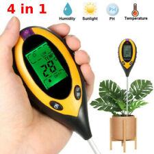 4 in1 Soil PH Meter Tester Temperature Sunlight Fertility Hygrometer LCD Digital
