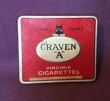 *Vintage Advertising Tobacco Tin CRAVEN A Virginia Cigarettes pics BLACK CAT