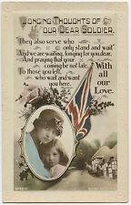 English WW1 Postcard Union Jack Patriotic Woman Child 1914-1918