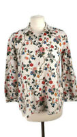 Cos Size 34 UK 8 Off White Ivory Multicoloured Floral Shirt Blouse Summer Womens
