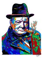Winston Churchill Prime Minister UK Portrait Politics Print Wall Art 8.5x11