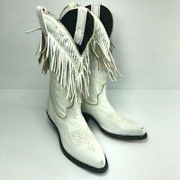 Laredo White Vegan Leather Point Fringe Mid Womens Cowboy Western Boots Sz 5
