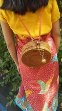Unique rattan convertible backpack purses, summer beach travel straw bag bali