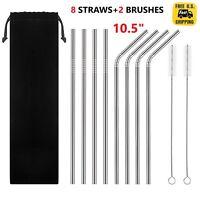 "10.5"" Long Reusable Straws Stainless Steel Drinking Metal for 30oz Tumbler Glass"