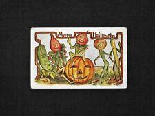 Vintage MERRY HALLOWEEN Embossed Postcard Vegetable People With JOL 1907-1915