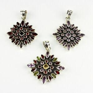 Garnet, Amethyst, Multi Color Pendant Real Gems 925 Silver Gift L 51