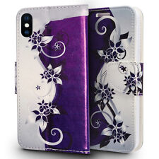 FOR IPHONE X 10 | PURPLE VINES FLIP JACKET WALLET POUCH CASE PHONE COVER
