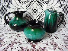 LOT of 3 ViNTaGe Green Drip BLUE MOUNTAIN PoTTeRy Pitcher~Jug Vase~Jar~Pot
