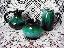 LOT of 3 ViNTaGe Green Drip BLUE MOUNTAIN PoTTeRy Pitcher~Jug Vase~Jar~Pot