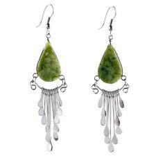 #4103 Peruvian Serpentine White Buffalo Stone Earrings Drop Artisan Fair Trade