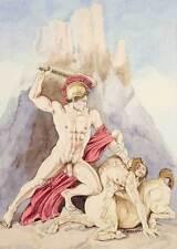 boy homme nu watercolor print nude male Theseus slaying centaur Greek mythology