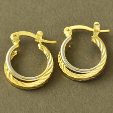 2-Tone White/Yellow Gold Plated Womens clip On Hoop Earrings cute Earrings lucky