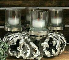 Kranz Kerzen Advent Alu silber  4-flammig neu COLMORE  Wreath Raw