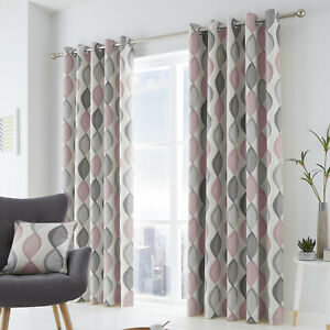 100% Cotton Grey and Blush Pink Geometric Ogee Lined Eyelet Curtains OR Cushions