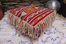 Moroccan Handmade Berber Kilim Decorative Fringe Floor Pillow Ottoman Pouf
