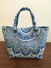 Women's Handmade Mandala Cotton Handbag Shopping Purse  Designer Large Tote Bag