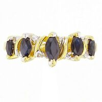 14k Yellow Gold Graduated Marquise Sapphire & Diamond Accent Band Ring Size 7.5