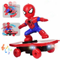 Super Hero Electric Spiderman Skateboard Kids Toy With Light Music 360° Tumbler