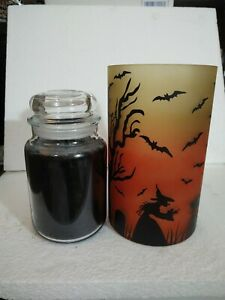 YANKEE CANDLE HALLOWEEN GRAVE YARD SCENE JAR CANDLE HOLDER BRAND NEW WITH TAGS