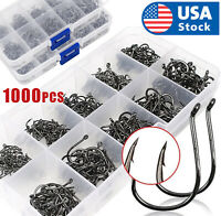 1000pcs Fish Hooks 10 Sizes Fishing Black Silver Sharpened With Box Quality kit