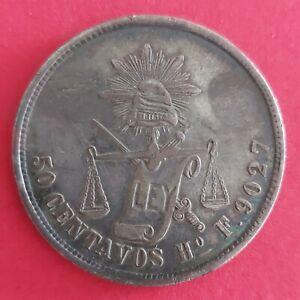 MEXICO Silver coin 50 CENTAVOS 1877 Ho F VF-