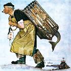 "30W""x30H"" MERMAID (A FAIR CATCH) by NORMAN ROCKWELL GOTCHA FISHERMAN PIPE CANVAS"