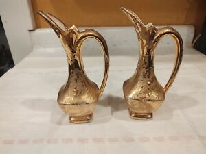"""Antique Gold Painted Bud Vase Set of Two Marked Y 8"""" Tall"""