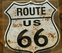 """US Route 66~ Rusted Look ~~11"""" Metal shield/sign ~~ Garage, Mancave, Embossed"""