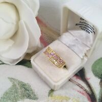 Vintage Art Deco Jewellery Gold Ring with Pink White Sapphires Antique Jewelry