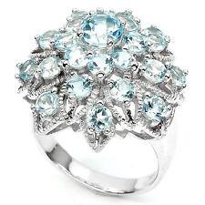 Sterling Silver 925 Genuine Natural Sky Blue Topaz Cluster Ring Size S1/2 US 9.5