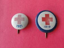 2 Antique Red Cross Pin Backs 1919 1921 Pinbacks