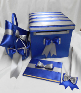 Royal Blue Silver Wedding Ring Pillow Flower Girl Basket Guest Book Pen Card Box
