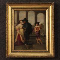 Antico quadro dipinto olio su tavola scena galante personaggi francese 800 XIX