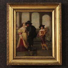Antico dipinto olio su tavola scena galante personaggi quadro francese 800 XIX