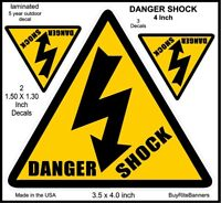 4 Inch, Danger Shock, Electric, Safety Decals Stickers. 3 Count, 2 Sizes.
