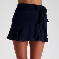 Size 8 City Beach Mooloola Oasis Frill Skirt Wrap Mini Navy Blue Skater Womens