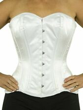 """511 Authentic White Satin 34"""" Inch Overbust Corset Double Steel Boned"""