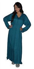 Moroccan Caftan Kaftan Handmade Ibaya Jellaba Jilbab Linen Fits up to Large Blue