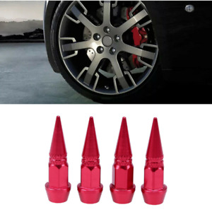 4Pcs Spike Cone Shape Tire Caps Rim Red Valve Wheel Air Port Dust Cover Stem