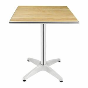 Bolero Square Table with Ash Wood Top and Aluminium Frame - 720X600X600mm