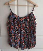 Joie Womens Black Floral Silk Birtha Cold Shoulder Blouse Top Shirt Size Medium