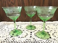 VINTAGE SET OF 3 SMALL CORDIAL CRYSTAL GOBLETS ETCHED WITH DAISY AND LEAVES