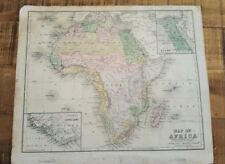 Antique Hand Colored Map - Africa / Common School Geography 1873