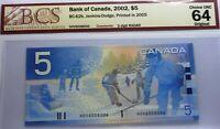 RADAR 3 DIGIT 6008006 ,BANK OF CANADA   2002 , CANADA BANK NOTE - UNCIRCULATED