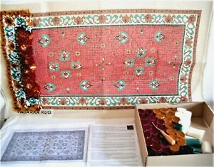 The Craft Collection Tabarka Design Latch Hook Rug Kit - Part Completed