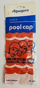 Vintage Red Aquapro Latex Pool Cap ~ One Size Fits All ~ No. 5005